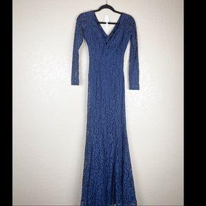 Lulu's Blue Lace Maxi long sleeve open back dress